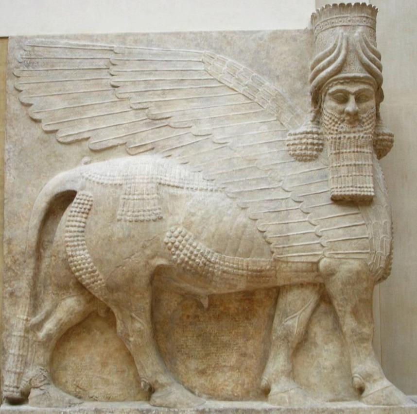Gevleugelde stier met mensenhoofd: muurreliëf van het paleis van Sargon II