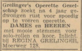 Advertentie van Regina Grelinger in Het Parool, 13-06-1945