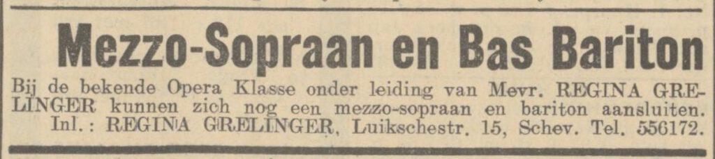 Advertentie van Regina Grelinger in de Haagsche Courant van 04-01-1936