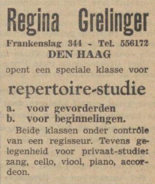 Advertentie van Regina Grelinger in De Volkskrant, 20-02-1941