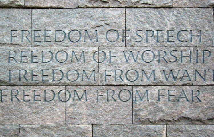 De 'Vier Vrijheden' op het Franklin Delano Roosevelt Memorial in Washington, D.C.