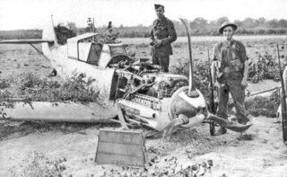 Franz von Werra's Bf 109E-4, pictured at Marden, Kent