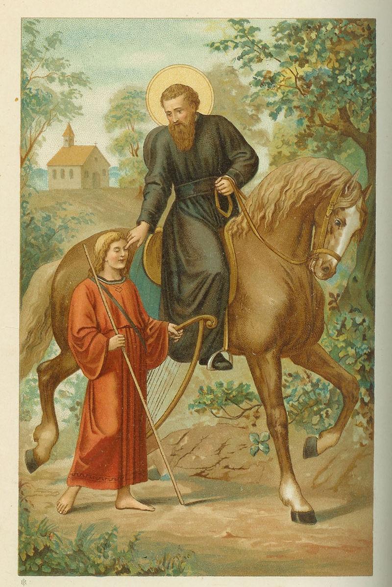 De heilige Liudger geneest de blinde zanger Bernlef