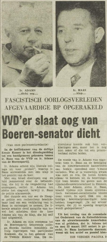 Over de vuistslag in Het Vrije Volk, 21 september 1966.
