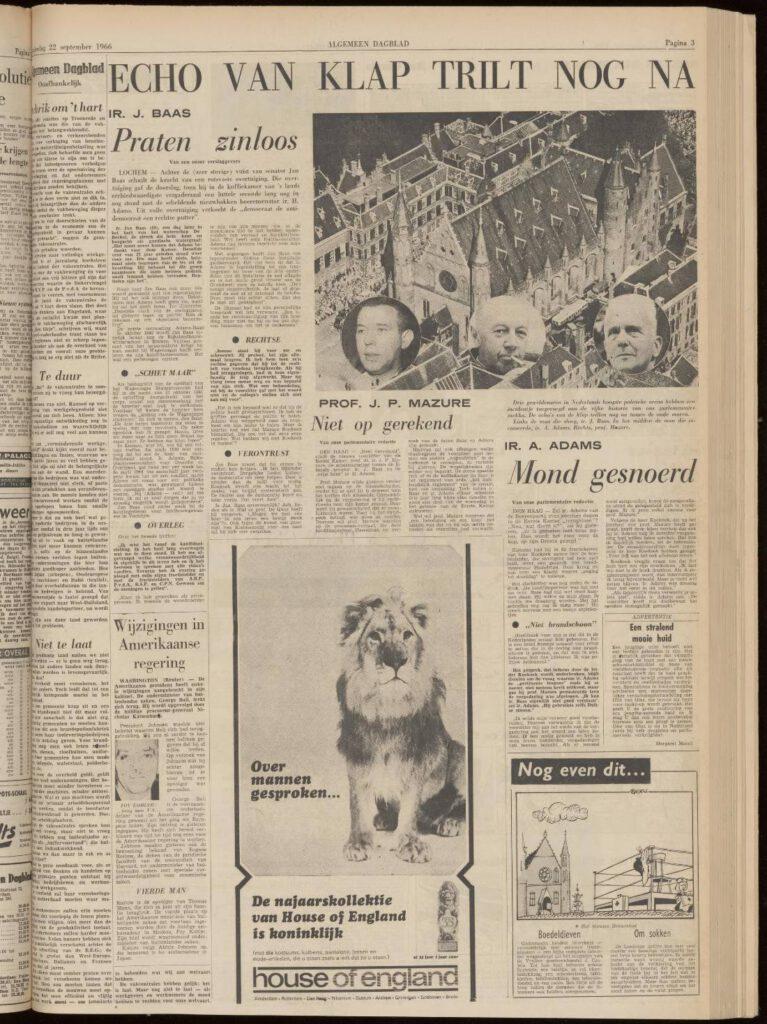 Over de gevolgen van de vuistslag in het Algemeen Dagblad, 22 september 1966.