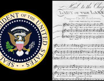 Zegel van de Amerikaanse president met bladmuziek van Hail to the Chief