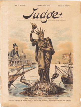 Het Vrijheidsbeeld op de voorzijde van 'Judge', 22 maart 1890