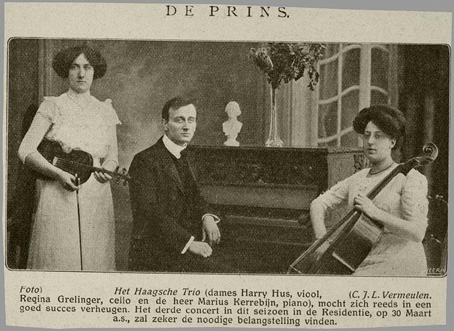 Regina Grelinger in 1911 (recht), als lid van het 'Haagsch Trio'