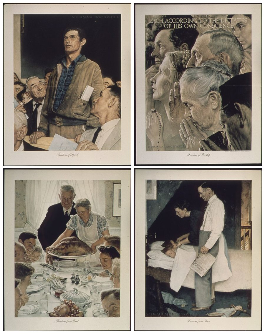 De Vier Vrijheden volgens kunstschilder Norman Rockwell. Vlnr: Freedom of Speech, Freedom of Worship, Freedom from Want & Freedom from Fear