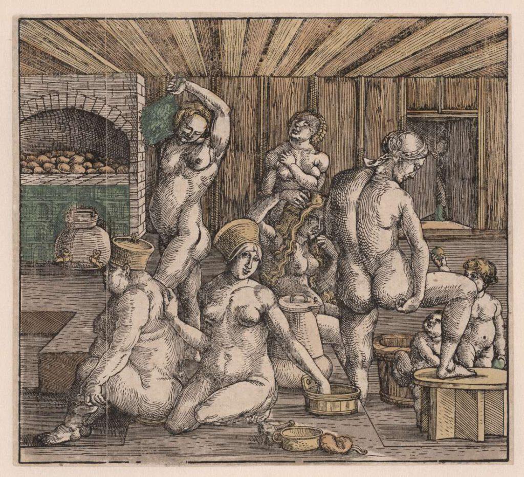 Het vrouwenbad, Hans Springinklee, naar Albrecht Dürer, 1496 - 1501