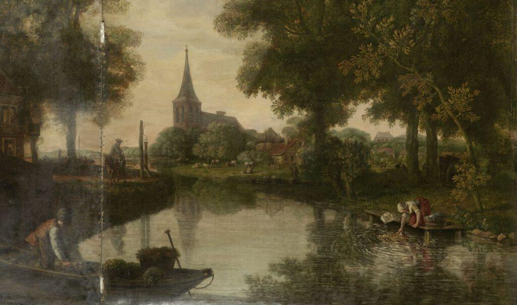 Jurriaan Andriessen, Behangselschildering met een Hollands landschap met rivier, 1776 (detail). Je ziet hier plattelanders aan het werk. (Rijksmuseum)