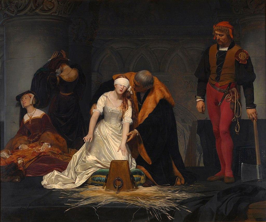 Executie van Jane Grey. Schilderij door Paul Delaroche, 1833