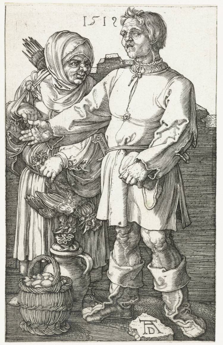 Albrecht Dürer, Boerenpaar op de markt, 1519. Een spottende afbeelding van boeren.
