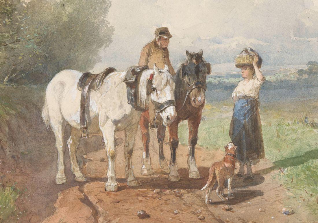 Anton Mauve, Praatje op een landweg, 1848-1888. Mauve, een schilder van de Haagse School, streefde een realistische weergave na.