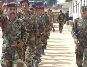 Een Peshmerga-eenheid die getraind wordt door de Verenigde Staten