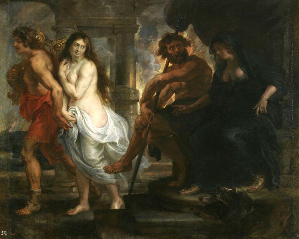 Eurydice krijgt toestemming het dodenrijk te verlaten - Rechts Hades en Persephone -  Peter Paul Rubens, ca. 1636