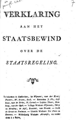 Het pamflet 'Verklaring aan het staatsbewind over de staatsregeling' van Gijsbert Karel van Hogendorp