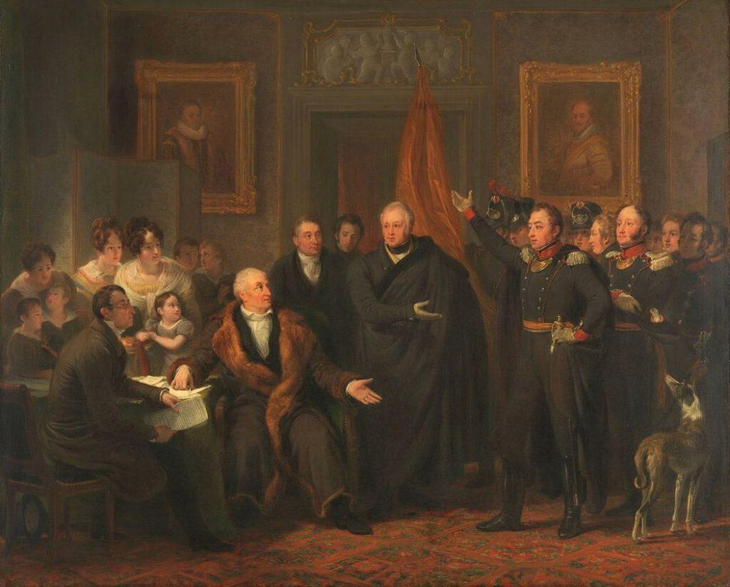 De aanvaarding van het Hoog Bewind door het Driemanschap in naam van de prins van Oranje, 21 november 1813, ten huize van Gijsbert Karel van Hogendorp, zittend rechts van de tafel.