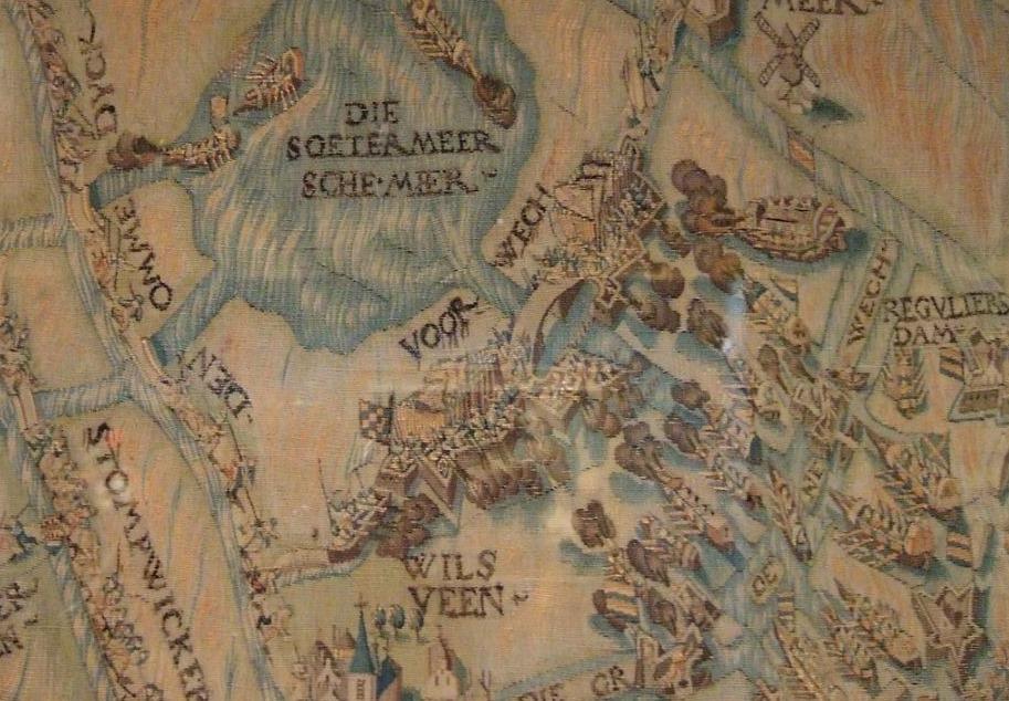 De slag bij Zoetermeer, detail op een wandtapijt over het Leidens ontzet: