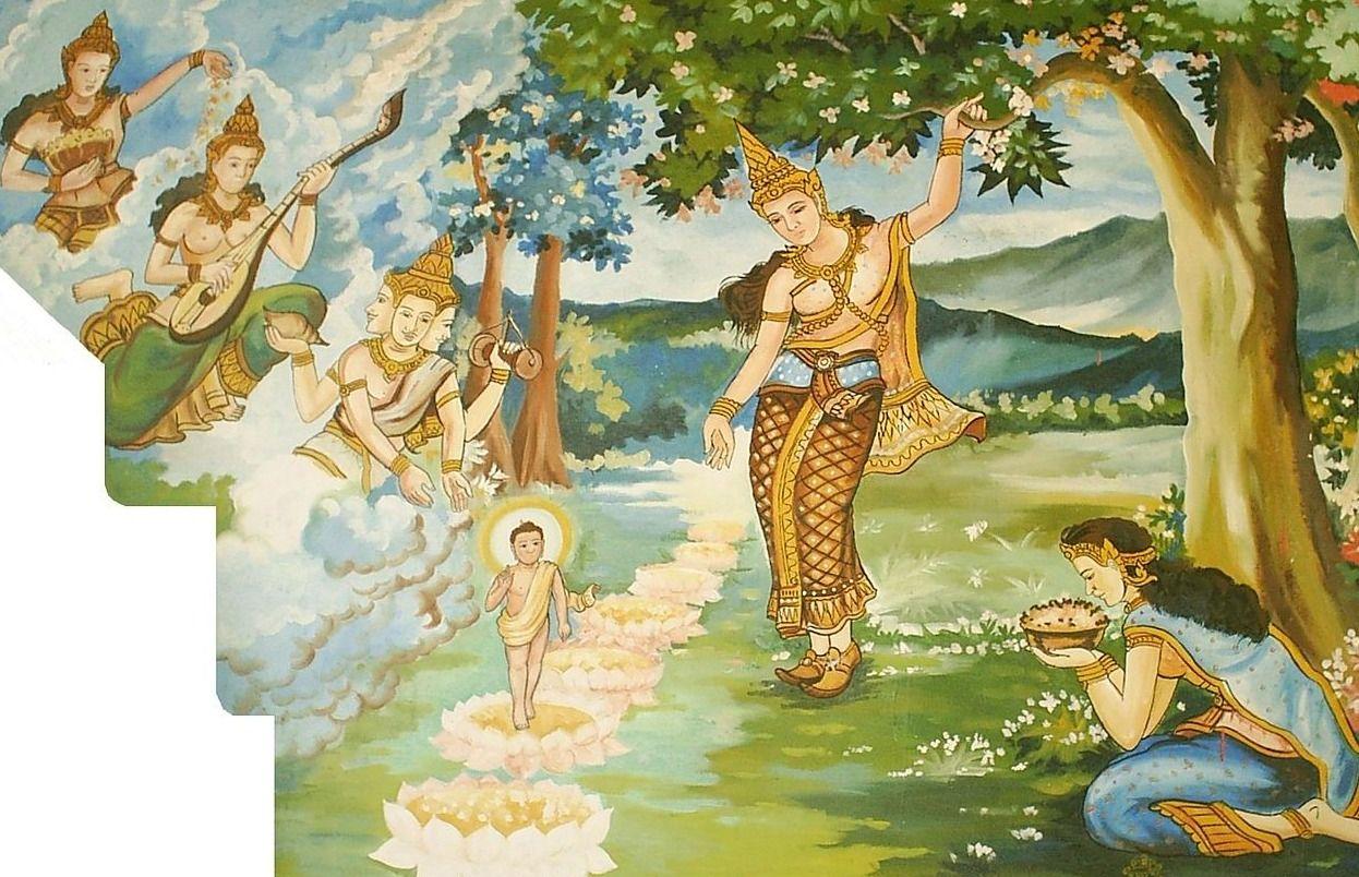 Verbeelding van de geboorte van boeddha