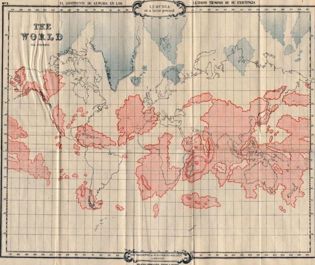 Kaart van Lemurië 'in een latere periode', toen het zijn grootste omvang had, volgens William Scott-Elliot, 1896