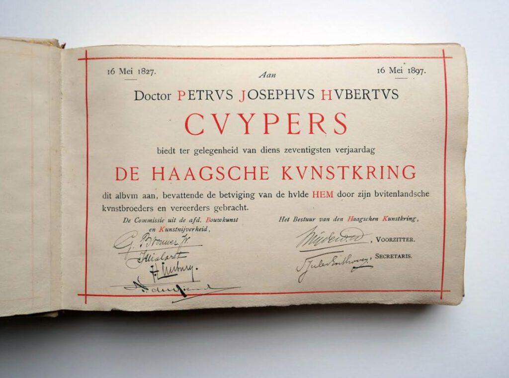 Felicitatie-album voor architect Pierre Cuypers