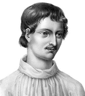 """Modern portret van Giordano Bruno, gebaseerd op een houtsnede uit """"Livre du recteur"""", 1578"""