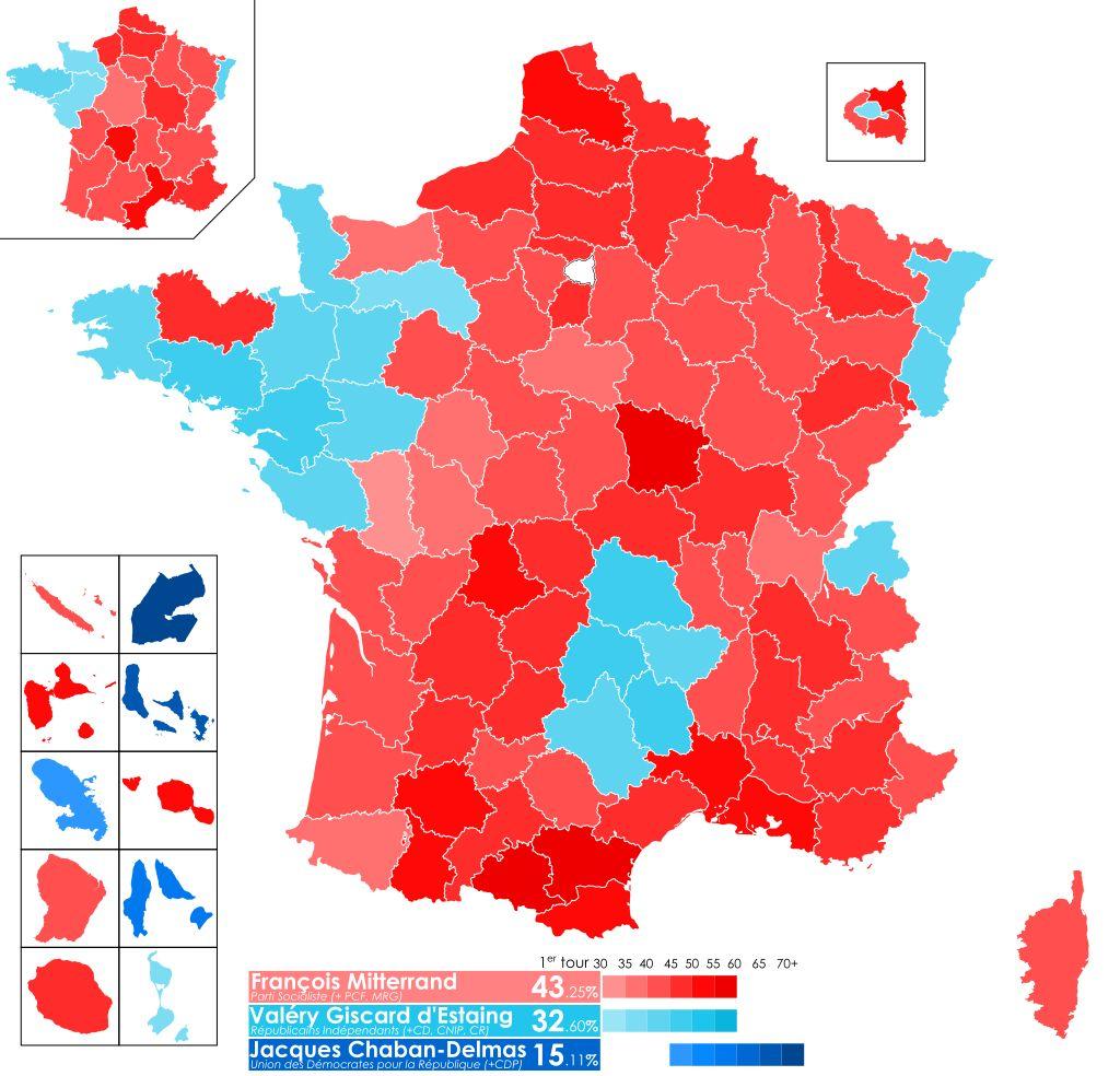 Uitslag van de eerste ronde van de Franse presidentsverkiezingen van 1974