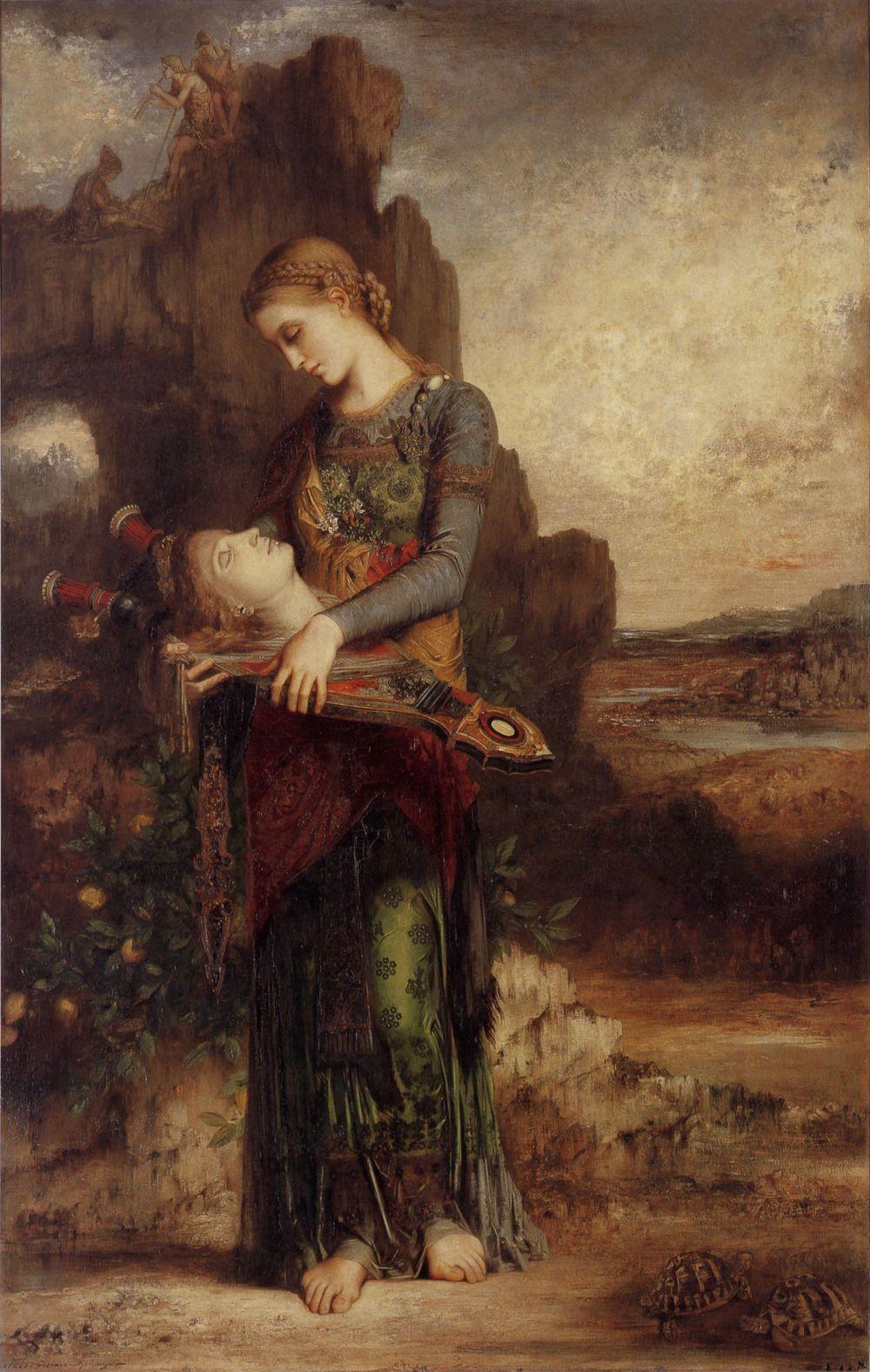 Een Thracische vrouw draagt het hoofd van Orpheus en zijn lier - Gustave Moreau, 1865