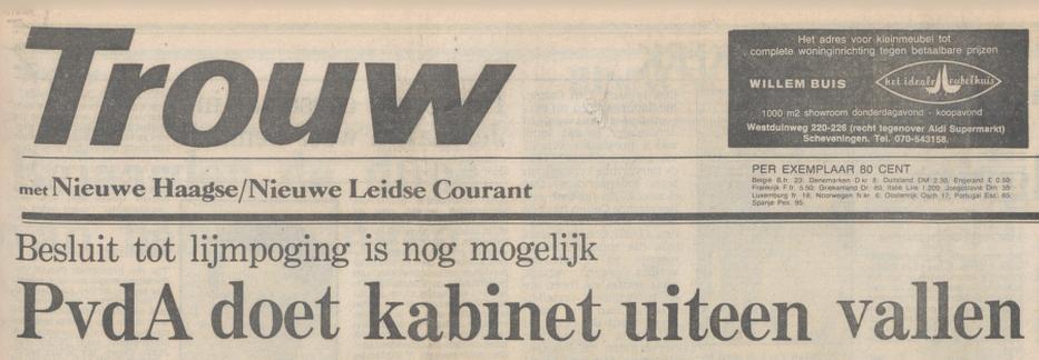 Krantenkop in Trouw n.a.v. de val van het kabinet Van Agt II, 13 mei 1982