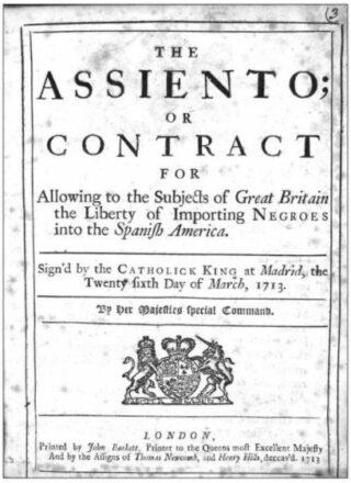 Voorblad van het Asientoverdrag tussen Engeland en Spanje, 1713