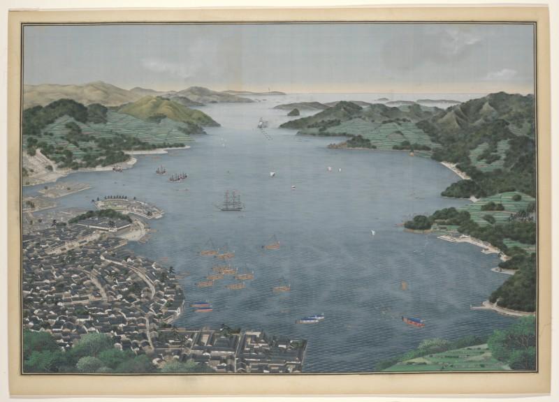 De baai van Nagasaki met het handels-eilandje Deshima. Schildering Kawahara Keiga (atelier van), c. 1833- 36, Rijksmuseum NG-1190