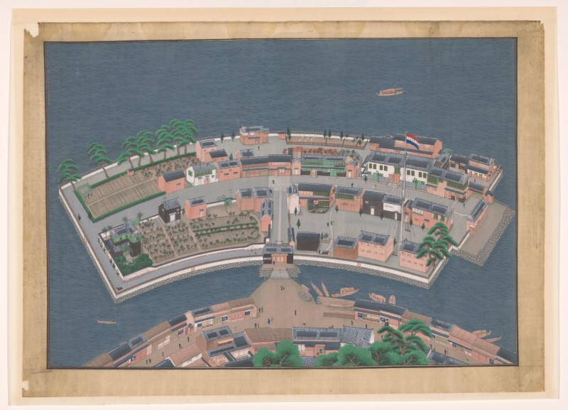 Gezicht op het eiland Deshima, Kawahara Keiga, 1833-36. Rijksmuseum RP-T-1921-488
