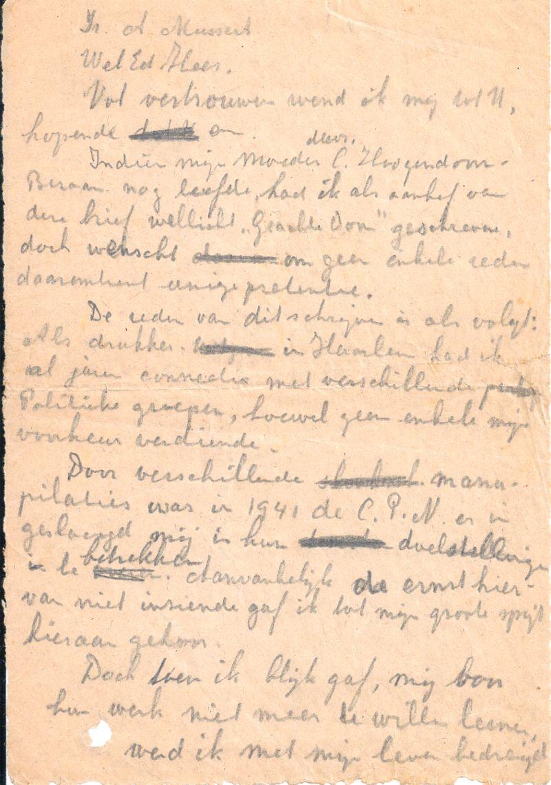 Het briefje aan Mussert. Privécollectie