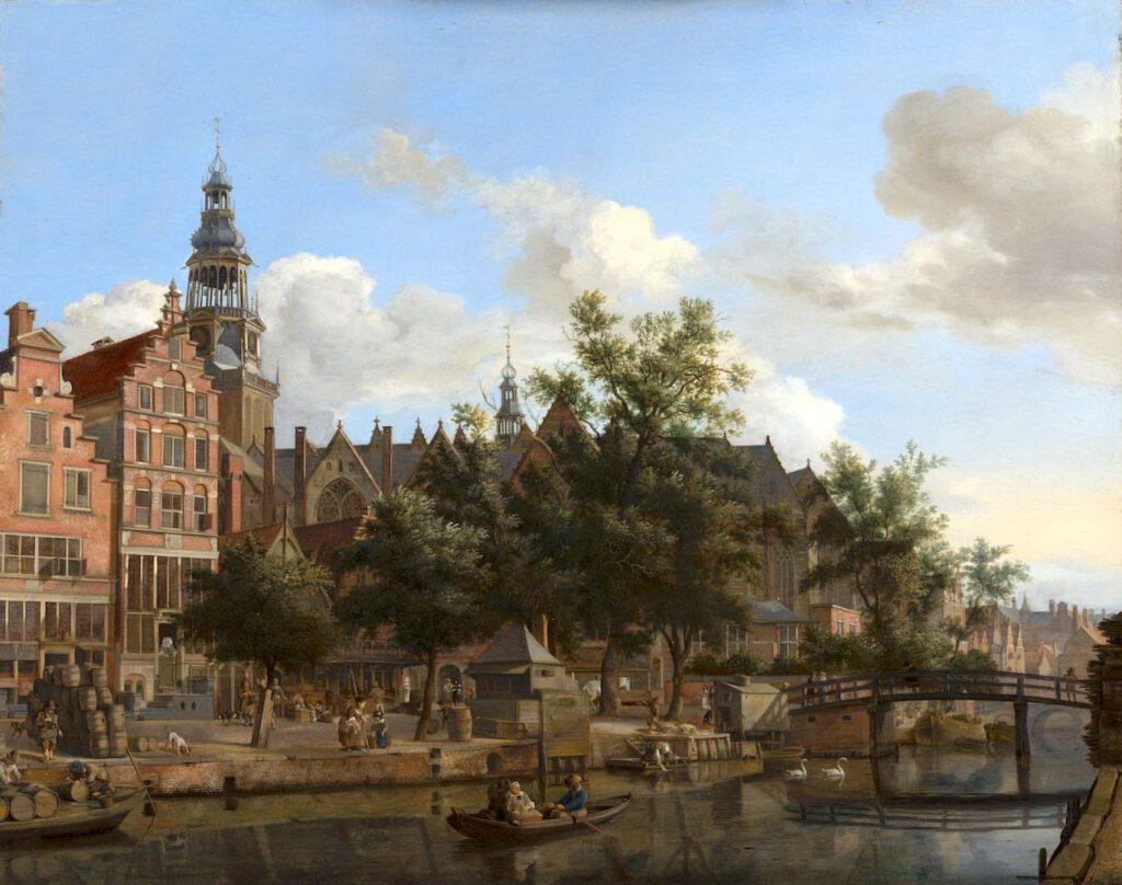 Jan van der Heyden, gezicht op de Oudezijds Voorburgwal met de oude kerk in Amsterdam, ca. 1670, Mauritshuis Den Haag