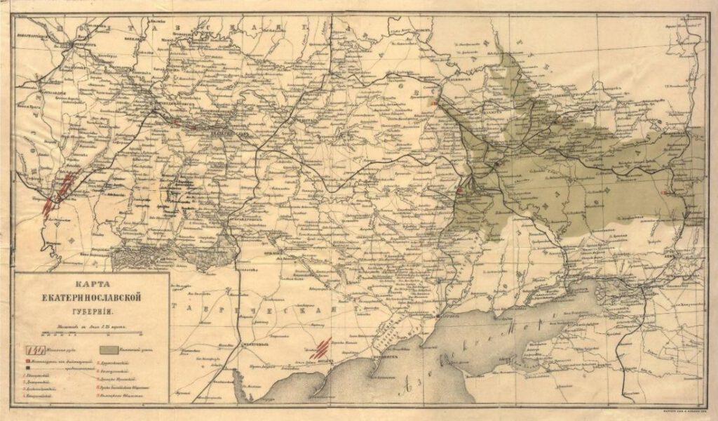 Kaart van Donbass uit 1895, toen het gebied nog in de tsaristische provincie Jekaterinoslav lag. In de drie districten die Donbass uitmaakten leefden toen ongeveer 770.000 mensen, een derde van de bevolking van de provincie. Het groen ingekleurde gebied is het steenkoolbekken.