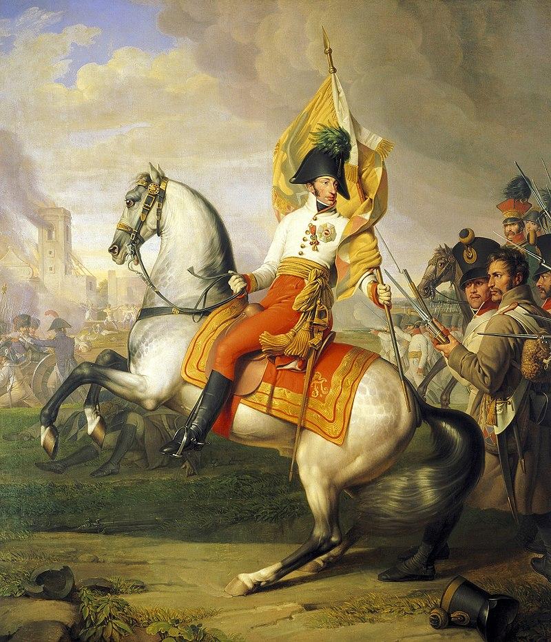 Karel van Oostenrijk-Teschen in de Slag bij Aspern-Eßling - Schilderij van Johann Peter Krafft
