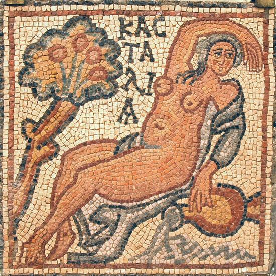 De Kastalische bron op een mozaïek uit een Byzantijnse kerk in Qasr Libya