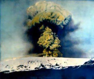 Foto van de uitbarsting van de Katla