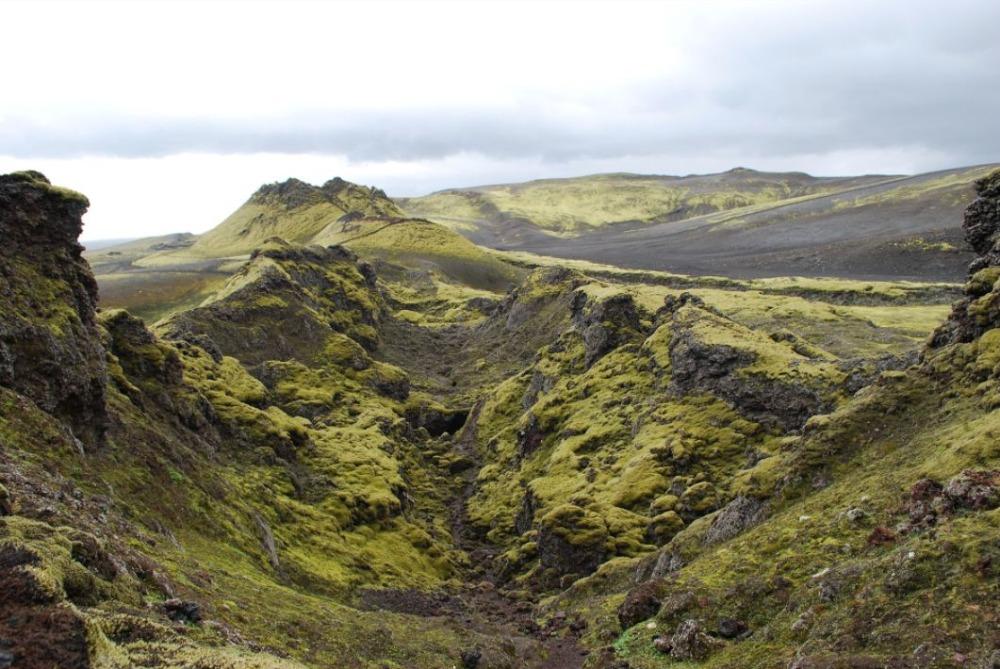 Laki-kloof in IJsland, waar op 8 juni 1783 een reeks vulkanen tot uitbarsting kwam