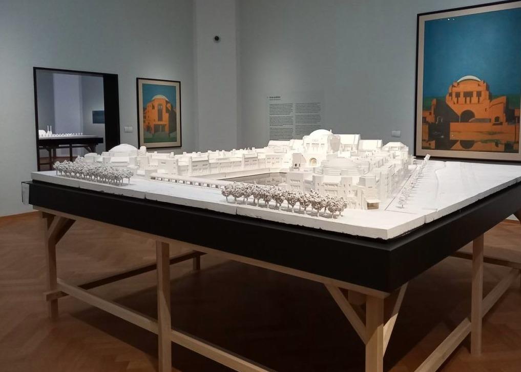 Maquette van het eerste ontwerp van het museum. Foto Marina Marijnen