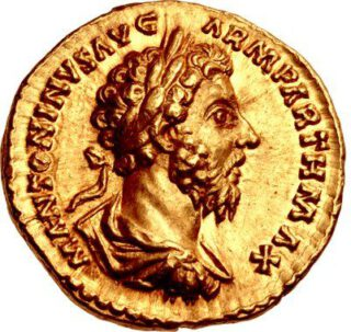 Munt met daarop de beeltenis van Marcus Aurelius