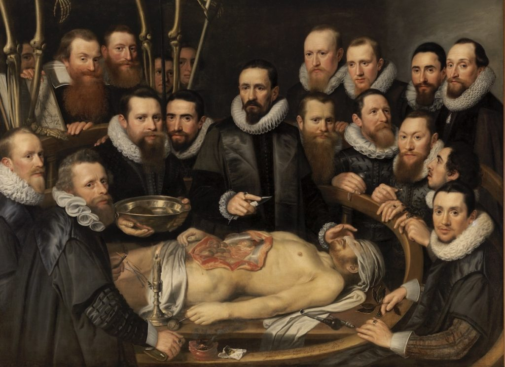 Michiel en Pieter van Mierevelt, Anatomische les van dr. Willem van der Meer, 1617. Doek, 150 x 225 cm. Museum Prinsenhof, Delft