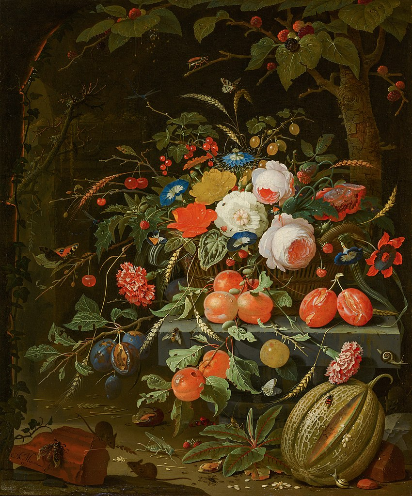 Abraham Mignon, Stilleven met bloemen en vruchten, c.1670. Doek, Mauritshuis, Den Haag