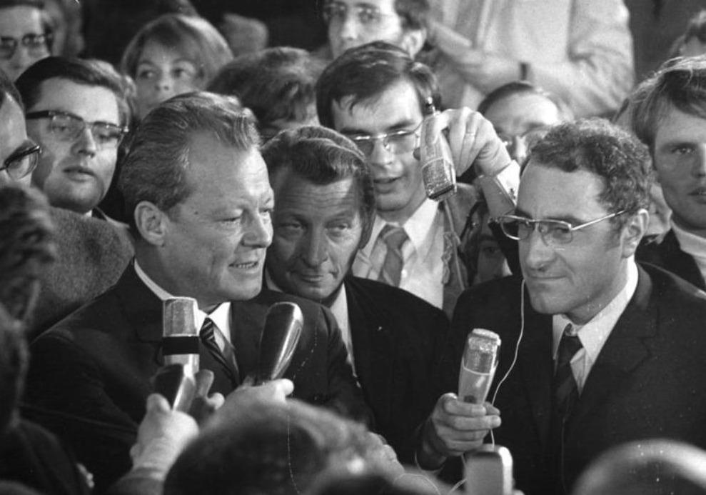 SPD-leider Willy Brandt op de verkiezingsavond van 1969
