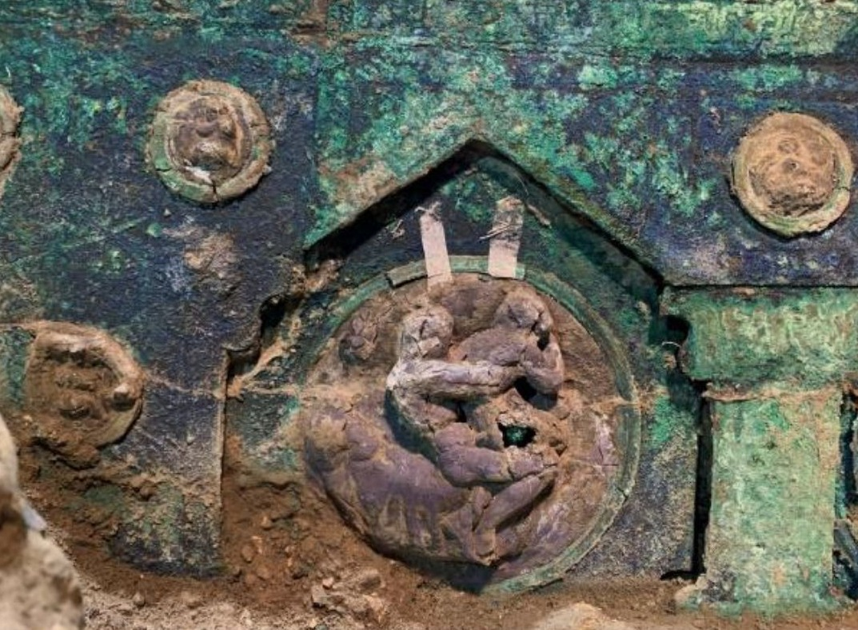 Detail op de Romeinse wagen (Archaeological Park of Pompeii)