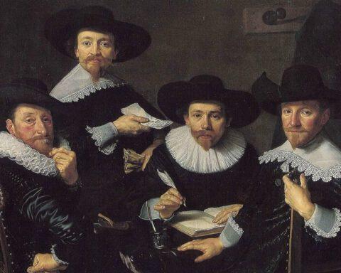 Regenten van het Walenweeshuis in Amsterdam, geschilderd door Bartholomeus van der Helst in 1637