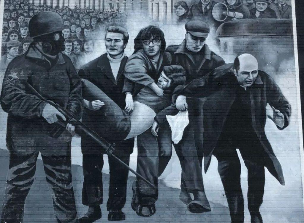 Bloody Sunday muurschildering in Derry