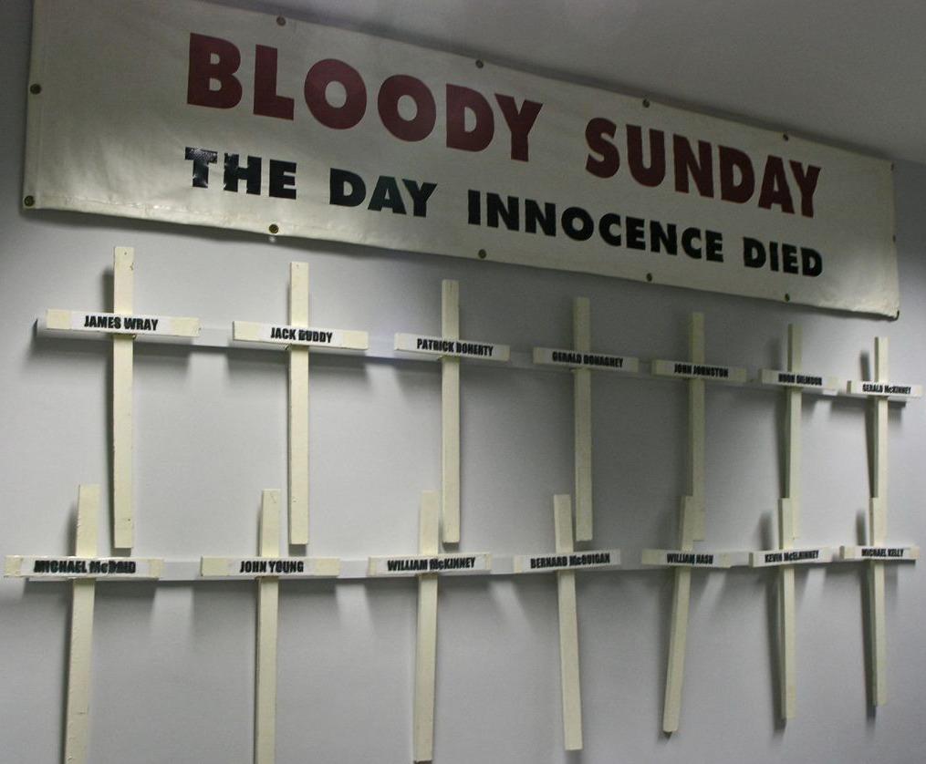 Kruisen die tijdens Bloody Sunday-herdenkingsmarsen door nabestaanden van de slachtoffers zijn gedragen