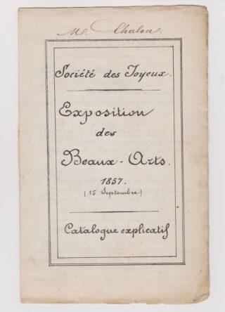 Catalogus voor de tentoonstelling van 'Les Joyeux' van 1857
